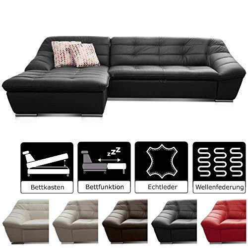 Lucas / Ledercouch mit Steppung und Schlaffunktion / Longchair links / Inkl. Bett und Bettkasten Größe: 287 x 81 x 165 (BxHxT) / Leder schwarz ()