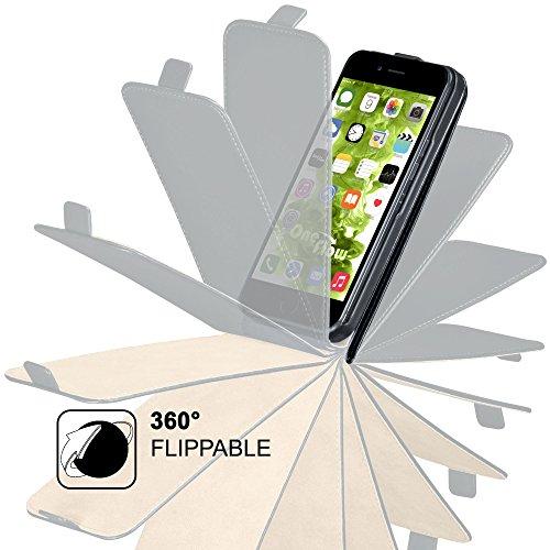 iPhone 6S Plus Hülle Schwarz [OneFlow 360° Klapp-Hülle] Etui thin Handytasche Dünn Handyhülle für iPhone 6 Plus / 6S + Plus Case Flip Cover Schutzhülle Kunst-Leder Tasche DEEP-BLACK