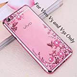 Loxxo Shockproof Silicone Soft TPU Transparent Auora Flower Case with Sparkle for Vivo