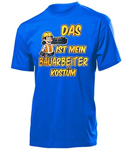 Bauarbeiter Kostüm Herren T-Shirt Baustelle Handwerker Männer 1572 Karneval Fasching Faschings Karnevals Paar Gruppen Outfit Klamotten Oberteil Blau - Mann Bauarbeiter Kostüm
