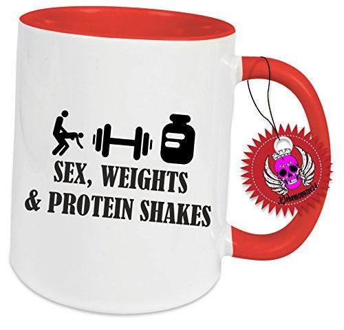 Spruchtasse Funtasse Rot Voll mit Aufdruck Spruch' Sex Weights Protein Shakes…' Bedruckte Tasse Becher für Kaffee Tee Fitness Bodybuilding Crossfit