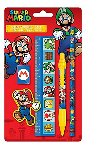 1art1 116746 Super Mario - Super Mario Bros. Schreibwaren-Set 21 x 13 cm (Mario Super Bleistifte)