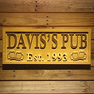 AdvPro Wood Custom wpa0023 Personalized Pub Wooden Sign Beer Mugs Rustic Home Décor Lake House Décor Man Cave Game Room Plaques Wood Signs - Medium 46 cm x 18 cm