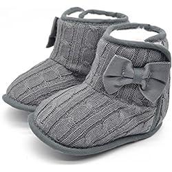 Itaar Zapato para Bebé Primeros Pasos Botita para Bebé Preandante en Tricot con Lazo en el Lateral (13, gris)