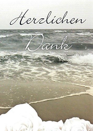 20 Danksagungskarten Trauerkarten mit Innentext und Umschlägen Motiv Meer / Rose Trauerkarte Trauer Danke (K65)