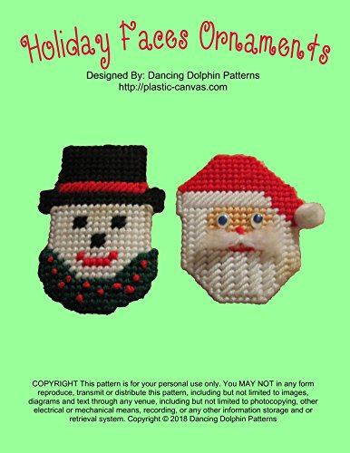 Holiday Faces Ornaments: Plastic Canvas Pattern (English Edition) -