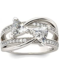 Naitik Jewels 925 Sterling Silver Trillion Cut Diamond Engagement Ring For Women