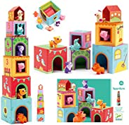 Djeco 39108 Topanifarm, Cubos Apilables, Multicolor