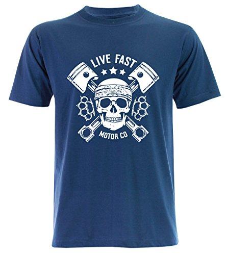 PALLAS Unisex's Motorcycle Club Live Fast Vintage T Shirt Blue
