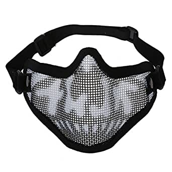 TOOGOO(R) Noir Camouflage paintball d'airsoft Chasse demi masque facial tactique Maille