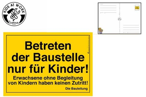 Betreten der baustelle nur für kinder  Preisvergleich - BAUSCHILD Postkarte - Betreten der Baustelle nur ...