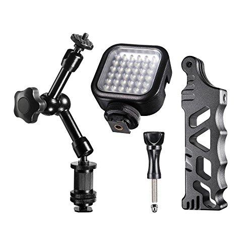 Mantona Steady LED 36 Video Set (geeignet für GoPro inkl. Handstativ, LED und Gelenkarm, GoPro Hero 6 5 4 3+ 3 2 1, Session und andere kompatible Action Cams, Leichte Digital, Kompaktkameras) (Cam Go Steady Pro)