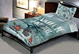 Uber Urban Jungle Book 144 TC Cotton Single Bedsheet and Pillow Cover - Abstract, Multicolour