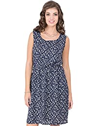 CAY Stylish & Trandy Women's Blue Dress with White Floral Prints