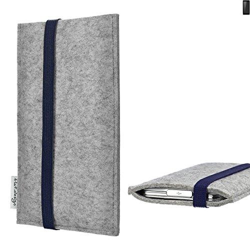 flat.design Handy Hülle Coimbra für Ruggear RG850 - Schutz Case Tasche Filz Made in Germany hellgrau blau