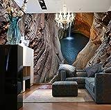 3D Stereo Großes Wandbild Höhle Wasserfall Tapete Druck Abstrakte Schlafzimmer Wohnzimmer Hintergrund Fototapete, 260X180 Cm (102,36X70,87 In)