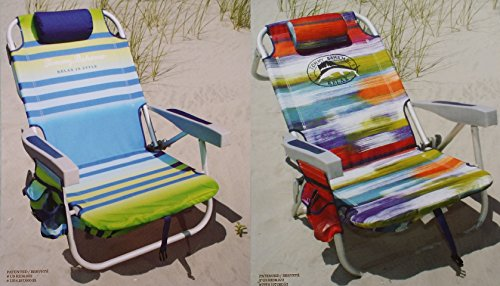 2-tommy-bahama-2015-backpack-cooler-chairs-with-storage-pouch-and-towel-bar-1-green-striped-and-1-mu