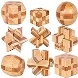 Gracelaza 9 Pezzi Rompicapo Puzzle Giocattoli di Legno - 3D Puzzle di Legno - Gioco di puzzle di legno - Giocattolo e Regali Ideali per Bambini e Ragazzi