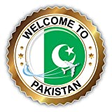 Pakistan Golden Welcome Label Auto-Dekor-Vinylaufkleber 12 X 12 cm