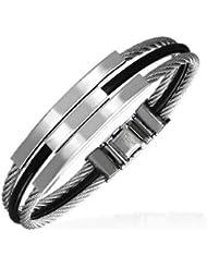 Urban Male - Bracelet rigide homme tendance à cordons caoutchouc noir et acier inoxydable