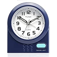 Travel Alarm Clock, Plumeet Non Ticking Analog Alarm Clock with Snooze and Nightlight, Silent Alarm Clock for Bedside, Ascending Sound Alarm, Easy to Set, Mini Sized, Battery Powered (Blue)