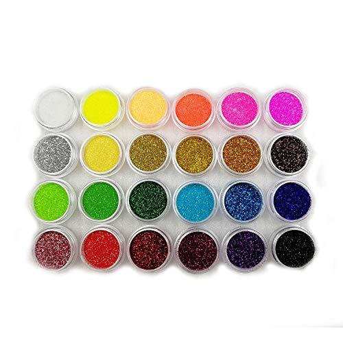 Boocy Boîte de 24 couleurs de paillettes pour Nail Art acrylique