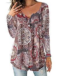 a8ad5981360311 DEMO SHOW Damen Tunika Top Locker Langarm V Ausschnitt Knopfleiste  Plissiert Floral Henley Shirt Bluse T