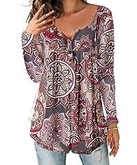 Idea Regalo - DEMO SHOW Donna Maglie a Manica Lunga Sciolto V Collo Bottone Camicia di Henley Floreale Pieghettata Bluse Tunica Tops T Shirt (Marrone Chiaro, 2XL)