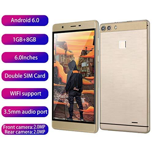 samLIKE ohne Vertrag Smartphone Günstig 6 Zoll 1GB + 8GB GSM Ultradünn Android 8.1 Handy 3G Quad Core, mit Dual-SIM und Dual-Kamera, 32G Erweiterter Speicher (Gold)