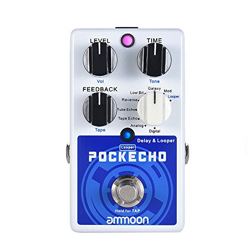 ammoon POCKECHO Delay & Looper Guitar Effect Pedal 8 Delay Effects Max. 300s Loop Time Tap Tempo Function True Bypass