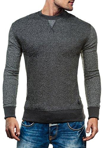 BOLF Herren Pullover Sweatshirt Langarmshirt Sport MIX Anthrazit_3672