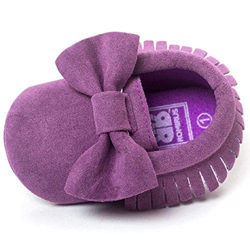 OverDose Baby-Mädchen Krippe Quasten bowknot Schuhe Kleinkind Turnschuhe Beiläufig Schuhe (0-18 Monate) Lila