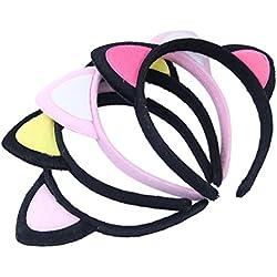 FRCOLOR 4pcs oreja de gato diadema Hairband felpa Hair Hoop Headpiece para la decoración del peinado diario de la fiesta