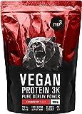 nu3 Protéines vegan 3K - 1kg - Fraise - 71% de Protéines à base de 3 Composants végétaux - Protéine végétale destinée à la prise de masse musculaire - Excellente alternative à la whey protein