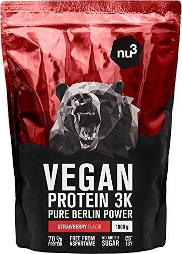 nu3 Vegan Protein 3K Shake - 1 Kg Erdbeere Blend - veganes Proteinpulver aus 3-Komponenten-Protein mit 70% Eiweiß - Pulver mit leckerem Strawberry Geschmack - Laktosefrei