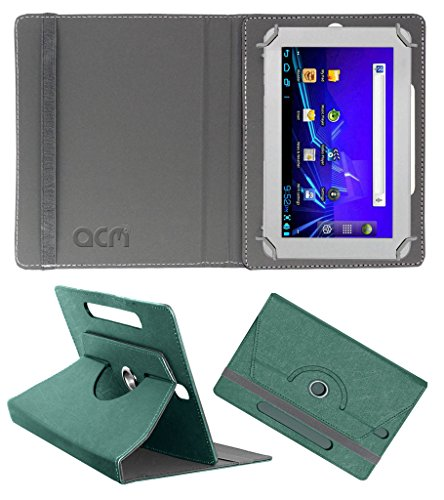 Acm Designer Rotating Leather Flip Case for Ambrane A-707 Cover Stand Turquoise  available at amazon for Rs.169