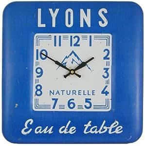 Horloge murale carrée en métal, Lyon - 31 cm