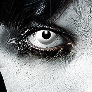 Leo Eyes Farbige Kontaklinsen Weiß Zombie oder Vampir Halloween Linsen Halloween Make up Zombie Schminke