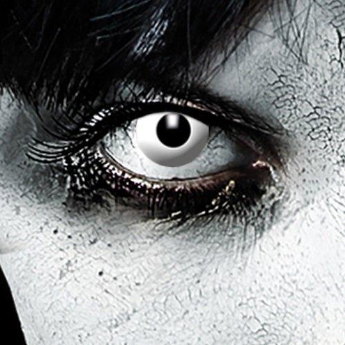 Leo Eyes Farbige Kontaklinsen Weiß Zombie oder Vampir Halloween Linsen Halloween Make up Zombie Schminke (Zombie Halloween-make-up Unheimlich)