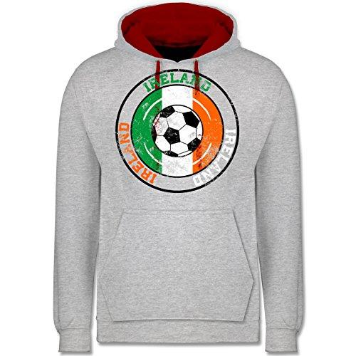Fußball - Ireland Kreis & Fußball Vintage - Kontrast Hoodie Grau Meliert/Rot