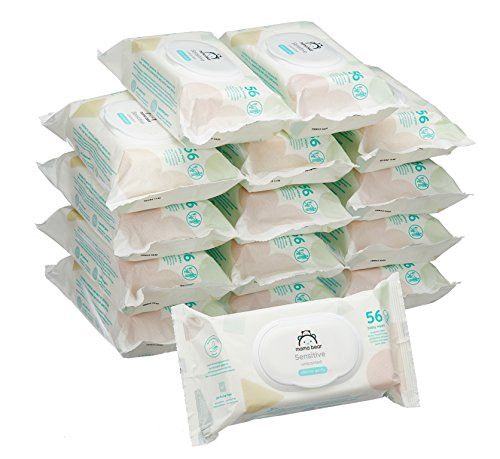 Amazon Marke -  Mama Bear Sensitive Baby-Feuchttücher - 15er Packung (840 Tücher) -
