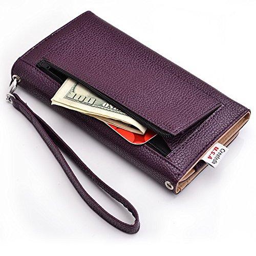Kroo d'embrayage avec dragonne Portefeuille 16cm Smartphones et phablettes pour Google Nexus 6 Multicolore - White with Mint Blue Violet - violet
