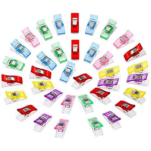 Anpro 60PCS Clips Pinces DIY Pince 2.7 * 1.0 * 1.5cm en ABS pour Reliure Couture Artisanat 6 Couleurs Rose,Rouge,Bleu,Jaune,Violet,Vert