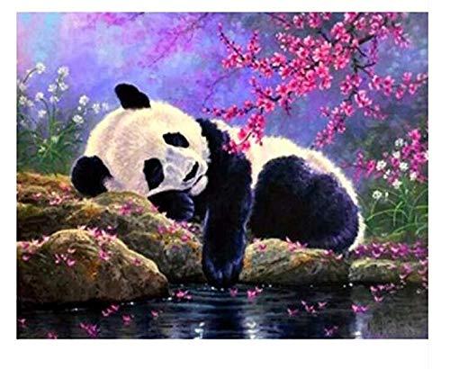 Großer Panda by The River Malen Nach Zahlen Mit Pinsel Als Geschenk DIY Handmade Für Kind Erwachsene Senioren Junior 40x50cm Kein Rahmen