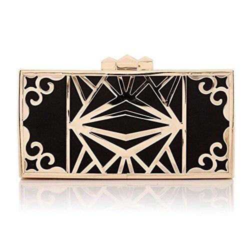 Damen Taschen Clutch Abend Party Hochzeit Kleid Umschlag durchbrochene Metall Brieftasche black