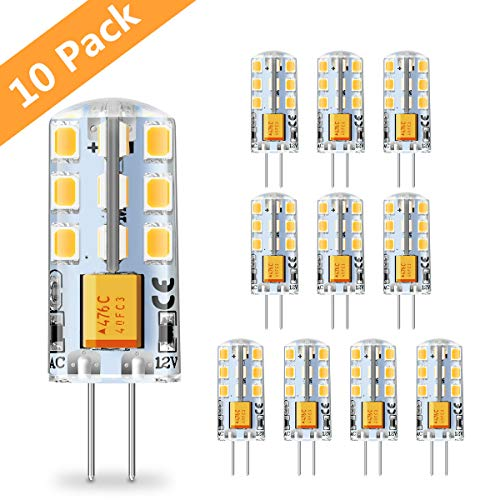 G4 LED Lampen 2W LED Leuchtmittel, 24 X 2835 SMD Warmweiß 3000K, Ersatz für 20W Halogenlampen, 180LM 12V AC/DC CRI80, 360° Abstrahlwinkel, Nicht Dimmbar - 10er Pack SOLMORE -
