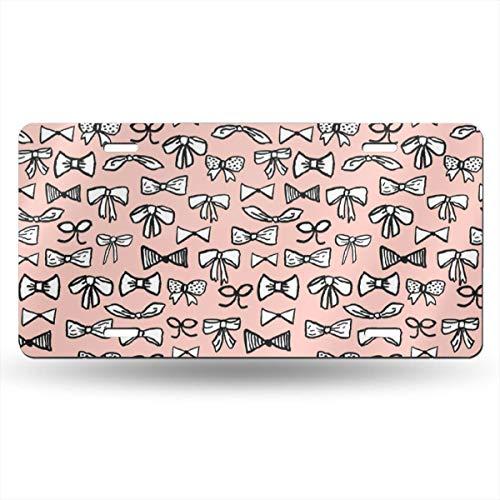 Alice_Home_Collect Bows Autokennzeichen, modisch, modisch, handgezeichnet, modisch, modisch, für Mädchen, Hellrosa Muster, Aluminium, Nummernschild, Schminkschild, Wanddekoration, Auto -