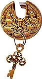 #2: Purpledip Brass Padlock Ganesha-Lakshmi: Round Antique Design; Unique Collectible (11295)