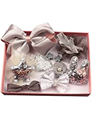 prelikes 10 Pcs Girl Bowknot Flower Hair Clip Multi-Style Bow Hairpin Ribbon Xmas Gift