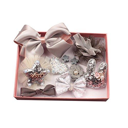 prelikes 10 Pcs Girl Bowknot Flower Hair Clip Multi-Style Bow Hairpin Ribbon Xmas Gift (Grey)